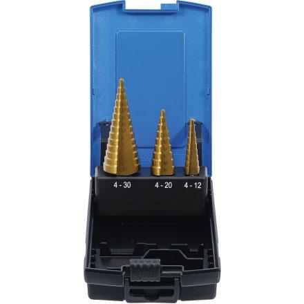 BGS technic 3 részes kúpos lépcsősfúró készlet, 4-30mm, titán bevonatú (BGS 1624)